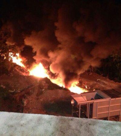 Incendio en planta de tratamiento de aguas residuales de Playa del Carmen