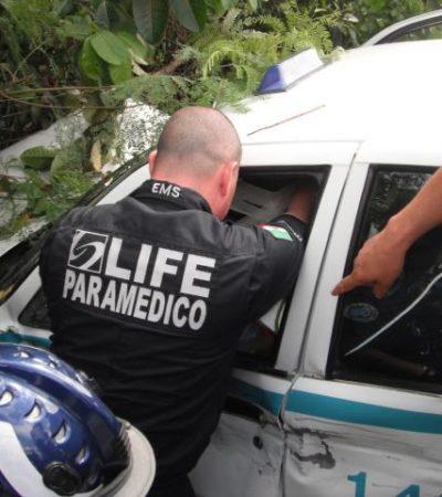 Camino a Cancún, choca taxista de Playa con saldo de 4 heridos
