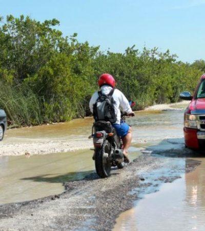 CON LA PENA, PERO… Están totalmente destruidos los accesos a hoteles en Bahía Petempich y Puerto Morelos