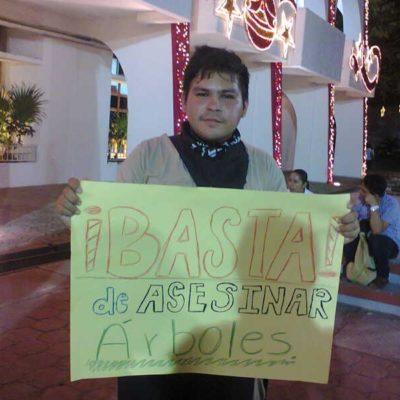 Protestan por proyecto de remodelación en el centro de Cancún; ofrecen autoridades talar menos árboles
