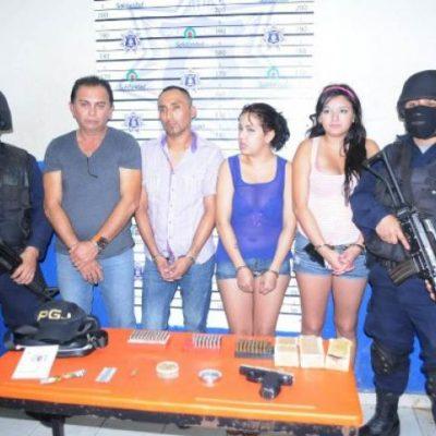Detienen en Playa a 4 con droga, cartuchos, pistola y los vinculan al Cártel del Golfo