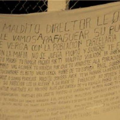NUEVA AMENAZA CONTRA ALCAIDE: Aparece otra 'narcomanta' contra el director del cárcel de Cancún