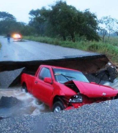 Incomunican lluvias parcialmente al Sureste por deslaves e inundaciones en carreteras en Tabasco