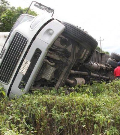 Vuelca camión con verduras por pestañeo del chofer en FCP