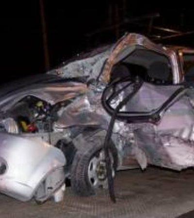 Un muerto y un herido en aparatoso accidente en el bulevar Colosio de Cancún provocado por ebrios empleados de telefónica