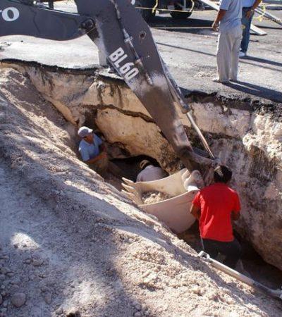 En una semana quedará reparado hundimiento de Avenida Xel-Há en Cozumel