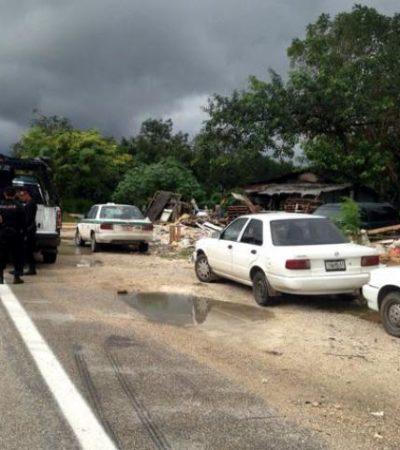 EJECUCIÓN DE UN 'ESCOPETAZO': Matan a hombre en rancho 'El Trebol' y aseguran tres taxis en la vía Cancún-Mérida
