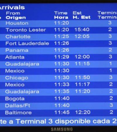 Se demoran en Cancún 70 vuelos y se cancelan 2 por tormenta polar en EU