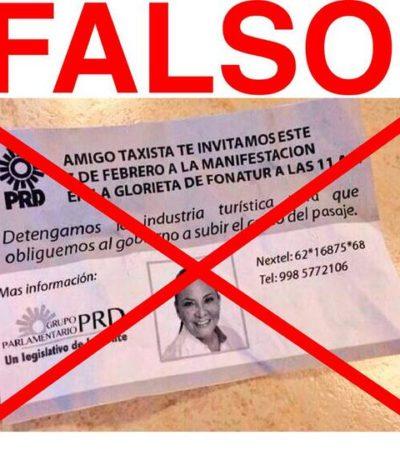 Repudia PRD 'guerra sucia' con volantes que buscan vincular falsamente a diputada Graciela Saldaña con protestas de taxistas