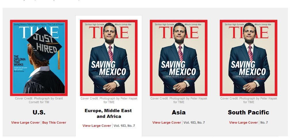 ¿SALVANDO A MÉXICO?: Dedica Time portada de su edición internacional a Peña Nieto; en la revista para EU, no aparece