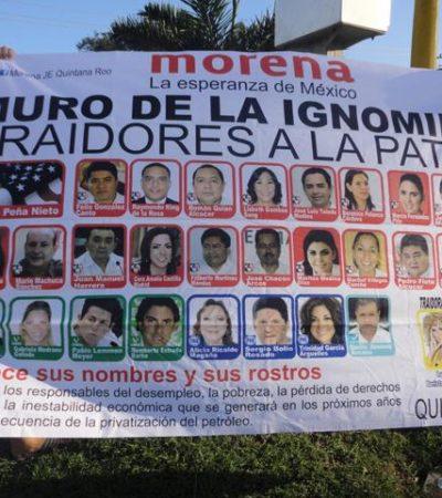 Lleva Morena a Chetumal el 'Muro de la Ignominia'
