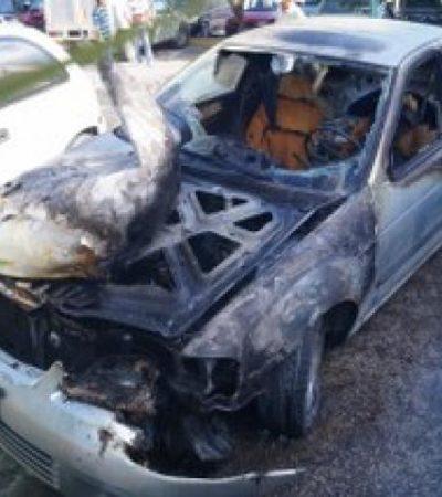Se incendia auto en el Mercado 28 de Cancún