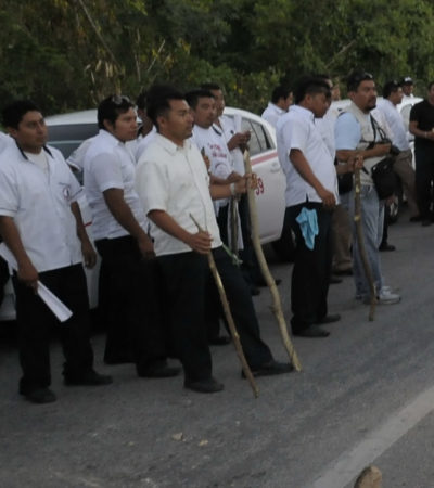 Consignan a 'Mama Lucha' por 'ultrajes' e inician averiguación contra otros 45 taxistas por bloqueo de carretera federal
