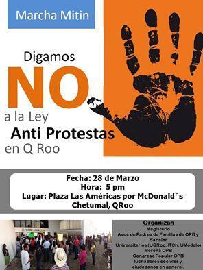 Convocan en Chetumal para la tercera manifestación contra la 'Ley Antimarchas' en QR