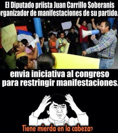 Causan furor 'memes' en redes sociales del diputado Juan Carrillo por 'Ley Antimarchas'