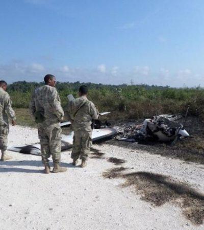 Aparece narcoavioneta quemada en Belice