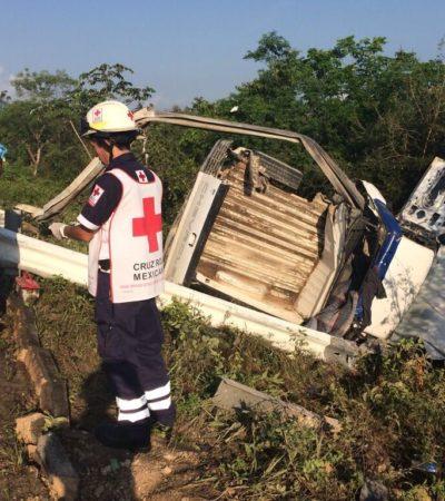 ACCIDENTE EN JUEVES SANTO: Volcadura en la carretera Cancún-Mérida deja saldo de una persona muerta y dos heridas