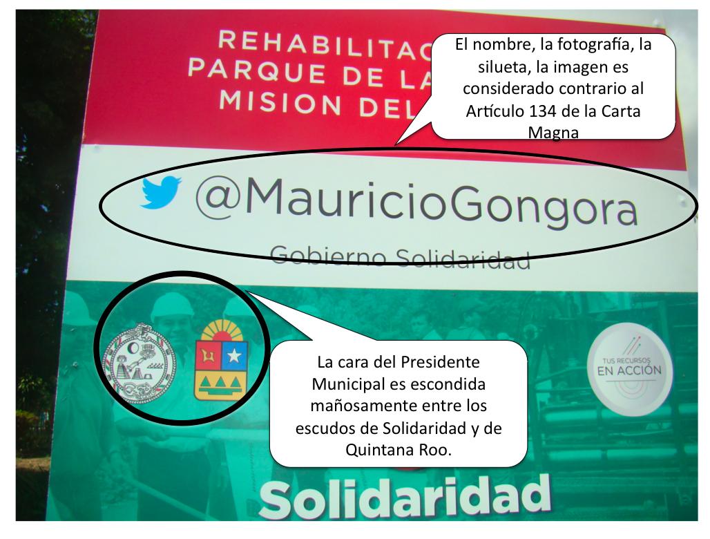 EXHIBEN AUTOPROMOCIÓN DE MAURICIO: Denuncian propaganda disfrazada del Alcalde de Solidaridad en obras públicas