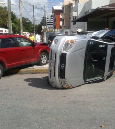 Aparatoso accidente mañanero en Avenida La Costa de Cancún