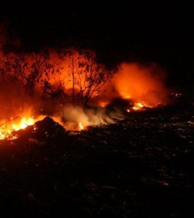 Consume incendio tiradero a cielo abierto en Chetumal
