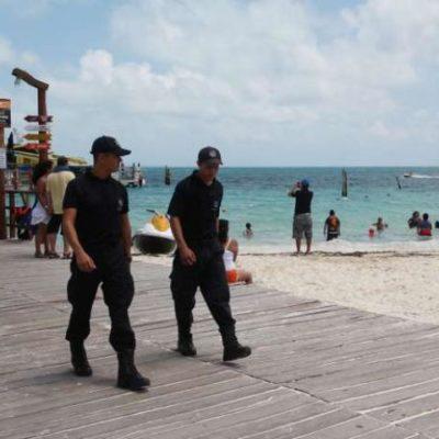 Fuerte vigilancia de policías federales en Zona Hotelera de Cancún