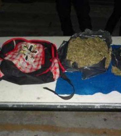 Con kilo y medio de marihuana proveniente de Chiapas, atrapan en Cancún a narcodistribuidor