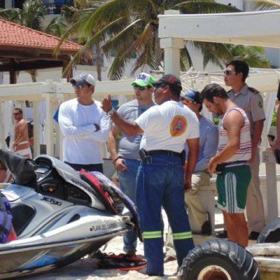 En moto  acuática, chocan turistas israelíes contra muelle de Ultramar en Playa del Carmen