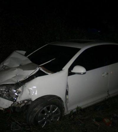 ¡CABALLAZO EN EL SUR DE QR!: Choca automovilista contra equino en la carretera y sale ileso