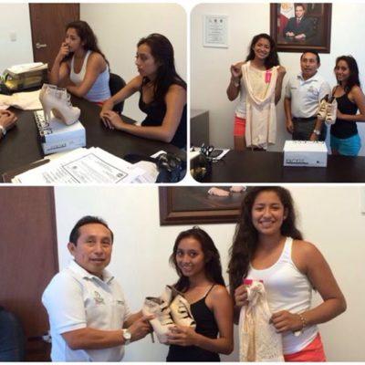 Vestido de gala y zapatillas de tacón de aguja, 'apoyo social' a 2 chicas de 'escasos recursos' en Tulum