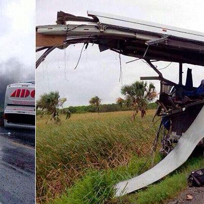 OTRA TRAGEDIA EN LA CARRETERA: Choque de autobús de ADO contra pipa entre Tabasco y Campeche; al menos 10 muertos
