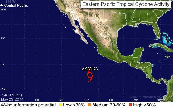 PRIMERA TORMENTA EN EL PACÍFICO: Depresión tropical se convierte en 'Amanda'