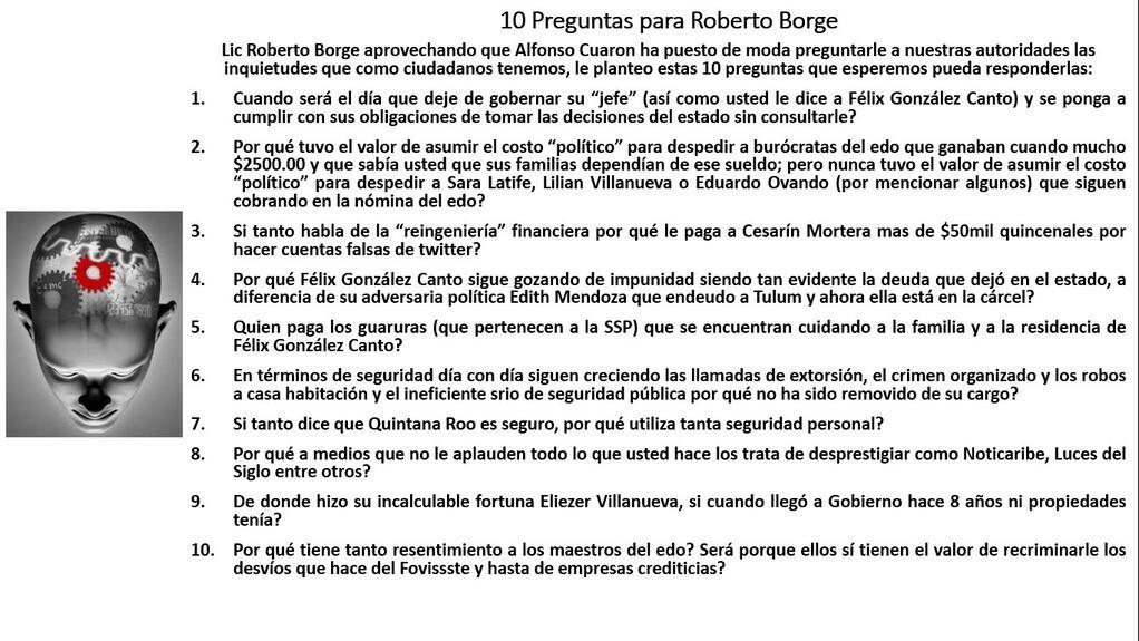 Al estilo de Alfonso Cuarón, en redes sociales lanzan 10 preguntas para Roberto Borge… ¡y las responde el @Gobertroll!