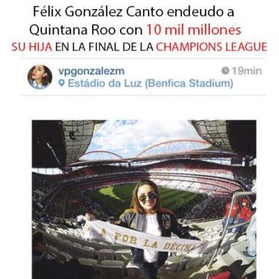 Difunden foto de hija del ex Gobernador Félix González en la final de la Champions League y levanta polémica