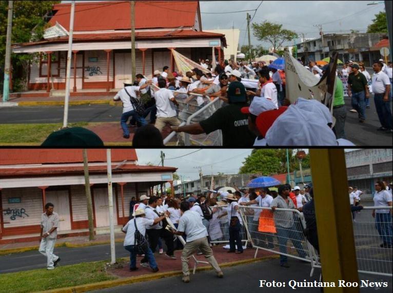 PROTESTAS MARCAN DESFILES: Huyen Borge, en Chetumal, y Paul Carrillo, en Cancún, ante reclamos de maestros en desfile