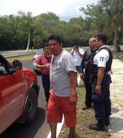 SECUESTRO EXPRESS EN CHETUMAL: Delincuentes amagan a un comerciante y lo golpean y roban en el Boulevard Bahía