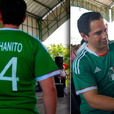 'CHICHANITO', EL OPORTUNISTA: Diputado Toledo Medina usa el partido México-Brasil, y hasta la camiseta de la Selección, para hacer proselitismo a favor del PRI