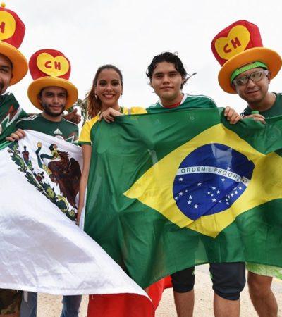 MÉXICO CONTRA BRASIL, EN LA TRIBUNA: Cualquiera que sea el resultado del partido, mexicanos y brasileños montan la fiesta
