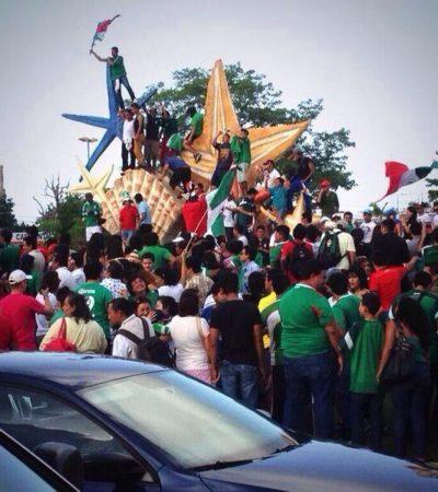 Celebran cientos triunfo de la Selección en Cancún y Chetumal