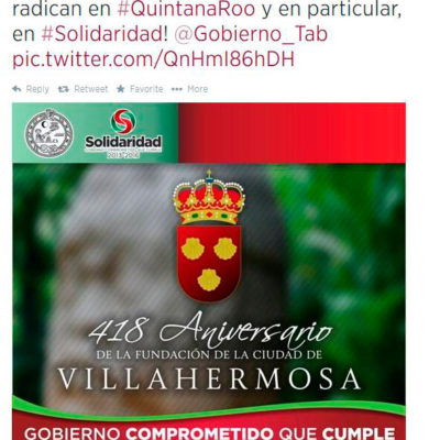 LA INTENCIÓN ES LO QUE CUENTA: Felicita Ayuntamiento de Solidaridad fundación de Villahermosa ¡con error de 32 años!