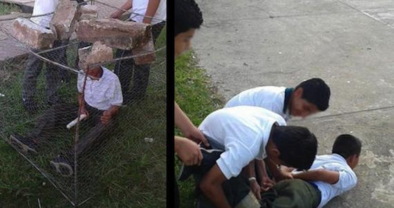 'BULLYING' EXTREMO EN TABASCO: Amarran a estudiante de secundaria y lo encierran en una jaula