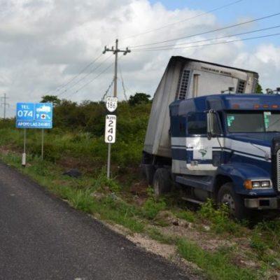 Tráiler termina fuera del camino por pestañazo del conductor