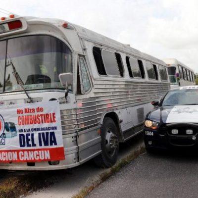 Protestan transportistas en Cancún contra gasolinazos, hostigamientos y detenciones arbitrarias