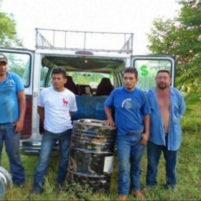 DAN GOLPE AL NARCOTRÁFICO: Asegura Ejército 1,400 litros de precursores químicos para drogas sintéticas en los límites de Campeche y QR