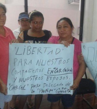 """CÁRCEL PARA LUDIVINA, """"POR CORRUPTA"""": Claman familiares por liberacion de comuneros detenidos por Profepa en Holbox"""