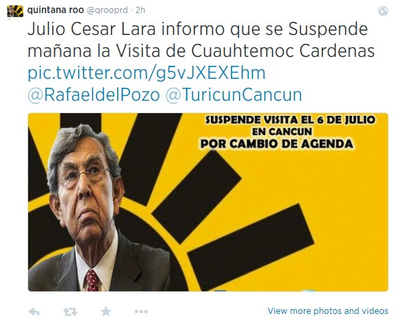 Captura de pantalla de uno de los 'tuits' de una cuenta falsa donde se informa de la supuesta cancelación de la visita de Cuauhtémoc Cárdenas a Cancún.