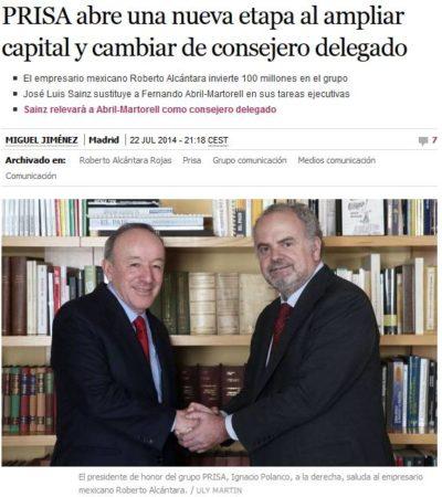 Invierte el empresario mexicano Roberto Alcántara 100 mde en el Grupo Prisa que edita El País