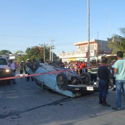 ACCIDENTE MORTAL EN RANCHO VIEJO: Automovilista fallece tras chocar y volcar en zona continental de Isla Mujeres