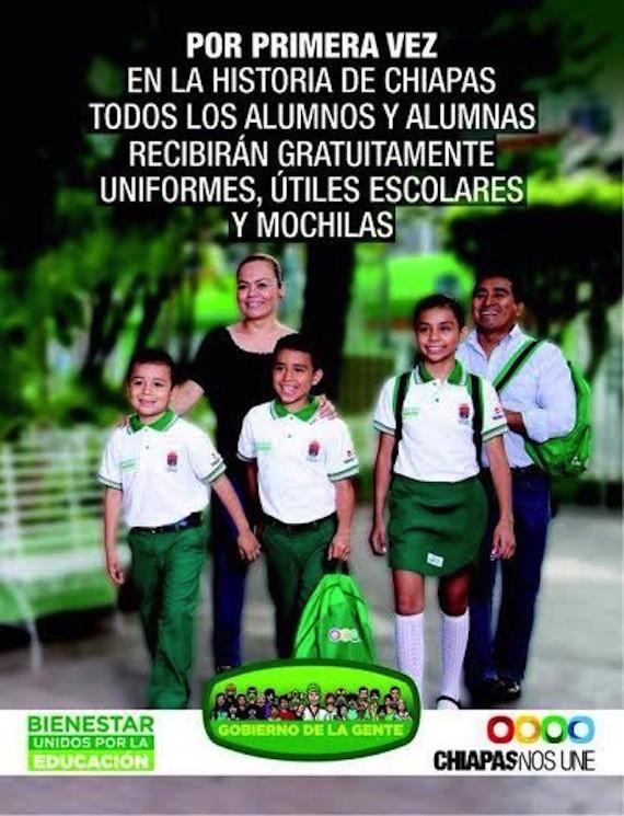 CORTADOS CON LA MISMA TIJERA: En Chiapas, con el PVEM, regalan uniformes verdes y en Quintana Roo, con el PRI, mochilas rojas