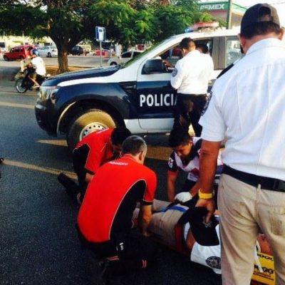 Arrollan a agente de Tránsito en la Avenida Andrés Quintana Roo
