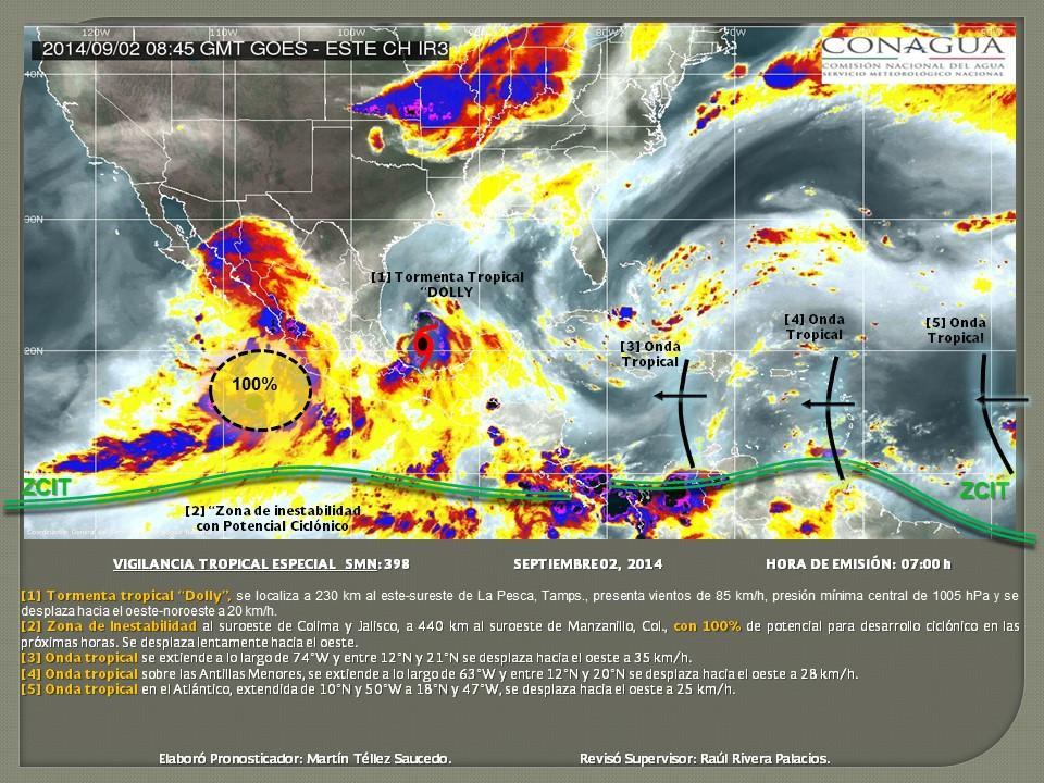 TORMENTA TROPICAL EN EL GOLFO: Se forma 'Dolly' y dejará lluvias torrenciales en 3 estados
